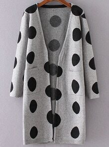 Grey Polka Dot Collarless Long Sweater Coat