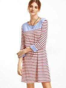 Red Striped Contrast T-Shirt Dress