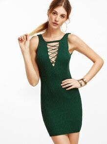 Green Criss Cross Front Ribbed Tank Dress