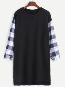 Black Contrast Plaid Sleeve Dip Hem Tee Dress