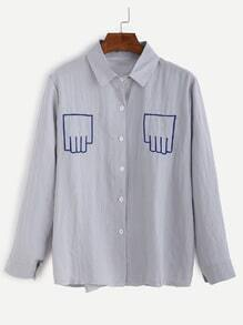 Blue Finger Embroidery Button Shirt