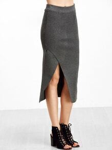 Grey Slit Front Pencil Skirt