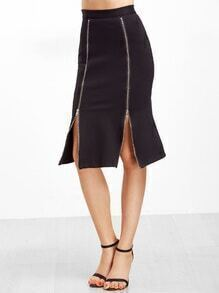 Black Zips Front Pencil Skirt