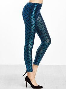 Blue Fish Scale Print Leggings
