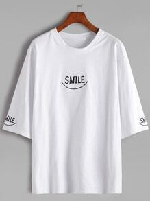 White Elbow Sleeve Letter Embroidery T-shirt