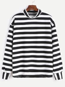 Black White Striped Crew Neck Drop Shoulder Sweatshirt