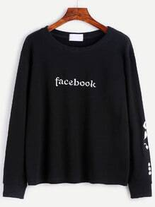 Black Letter Embroidery Sweatshirt