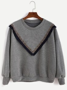 Grey Drop Shoulder Fringe Sweatshirt With Embroidered Tape Detail
