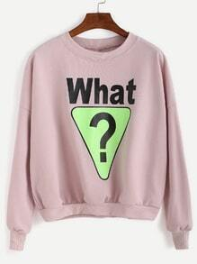 Pink Letter Print Dropped Shoulder Seam Sweatshirt