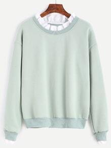 Pale Green Dropped Shoulder Seam Contrast Ruffle Neck Sweatshirt