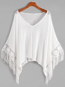 White V Neck Crochet Contrast Fringe Knitwear