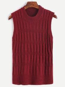 Burgundy Round Neck Ribbed Knit Sweater Vest