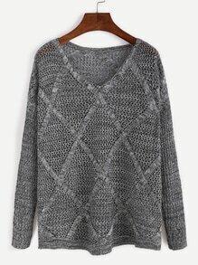 Grey Drop Shoulder Open Knit Diamondback Sweater