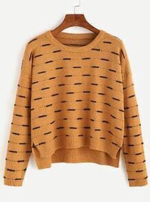 Khaki Dropped Shoulder Seam High Low Pattern Sweater