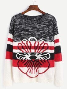 Color Block Striped Pattern Sweater