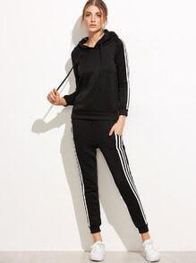 Black Striped Side Hooded Sweatshirt With Pocket Pants