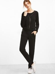 Black Zip Detail Sweatshirt With Elastic Waist Pants