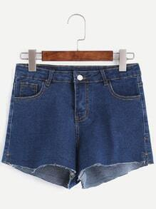 Blue Frayed Hem Denim Shorts