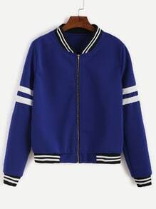 Royal Blue Varsity Striped Zip Up Jacket