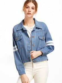 Blue Back Letter Print Varsity Striped Denim Jacket