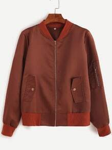 Brown Sleeve Zip Detail Pocket Jacket