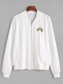 White Rainbow Embroidered Pockets Jacket