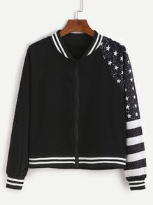 Black Stars And Striped Print Zipper Jacket