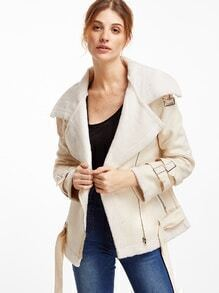 Beige Suede Buckles Zip Coat With Belt