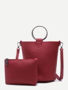 Burgundy Pebbled PU Metal Ring Shoulder Bag With Clutch