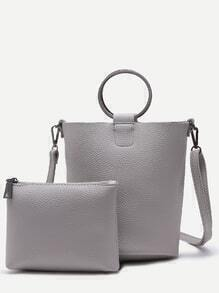 Grey Pebbled PU Metal Ring Shoulder Bag With Clutch