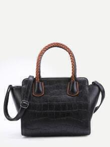 Black Embossed PU Handbag With Strap
