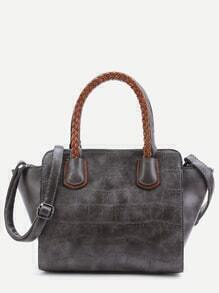 Grey Embossed PU Handbag With Strap