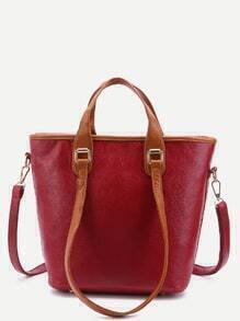 Red Pebbled PU Handbag With Convertible Strap