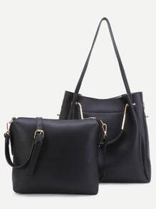 Black PU Convertible Shoulder Bag With Crossbody Bag