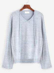 Pale Blue V Neck Drop Shoulder Self Tie Sweater