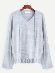 Pale Blue V Neck Drop Shoulder Self Tie Sweater