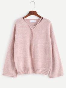 Pink V Neck Drop Shoulder Self Tie Sweater