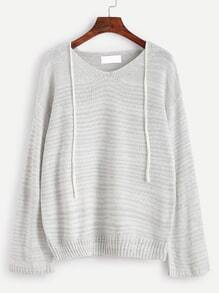Light Grey V Neck Drop Shoulder Self Tie Sweater