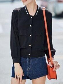 Black Long Sleeve Pockets Sweater