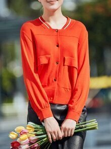Orange Long Sleeve Pockets Sweater