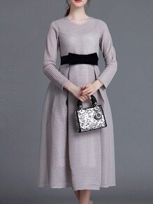 Grey Pleated Bowknot A-Line Dress
