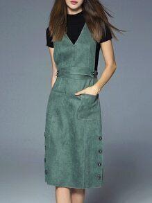 Green Collar Sweater Two-piece Split Dress
