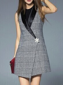 Black Lapel Houndstooth Asymmetric Dress