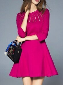 Hot Pink Crew Neck Mesh A-Line Dress