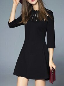 Black Crew Neck Mesh A-Line Dress
