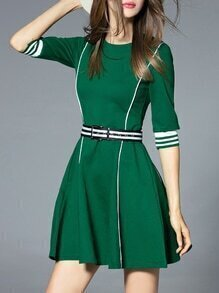 Green Striped Belted A-Line Dress