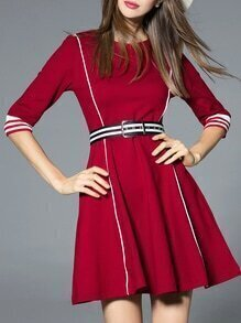 Burgundy Striped Belted A-Line Dress