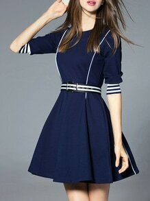 Navy Striped Belted A-Line Dress
