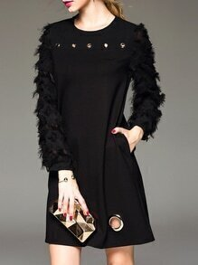 Black Fringe Sleeve Pockets Shift Dress