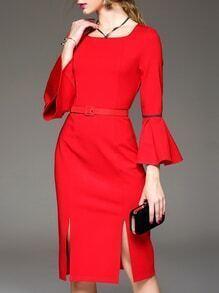 Red Bell Sleeve Belted Split Shift Dress